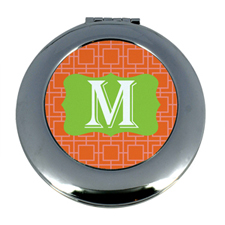 Personalized Orange Greek Key Round Make Up Mirror