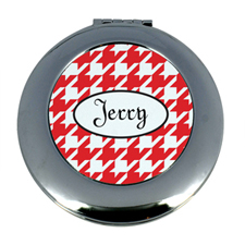 Personalized Red Hounds Tooth Round Make Up Mirror