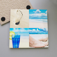 Personalized Four Collage Tile Coaster
