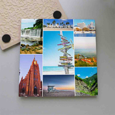 Personalized Eight Collage Tile Coaster
