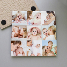Personalized Nine Collage Tile Coaster
