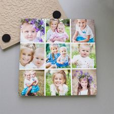 Personalized White Nine Collage Tile Coaster