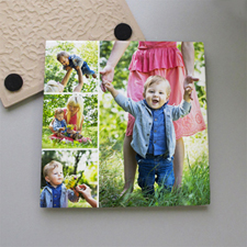 Personalized Simply Four Collage Tile Coaster