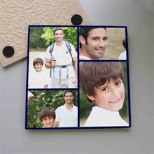 Personalized Black Four Collage Tile Coaster
