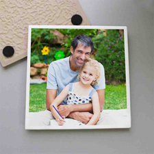 Personalized White Frame Tile Coaster