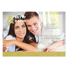 Personalized Gold Glitter Wedding Announcement Invitation Card