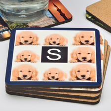 Navy 8 Collage Personalized Cork Coaster (One Coaster)