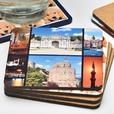 6 Collage Photo Personalized Cork Coaster (One Coaster)