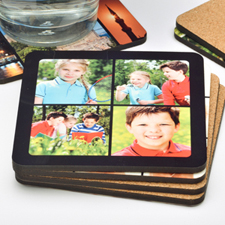 4 Collage Photo Personalized Cork Coaster (One Coaster)
