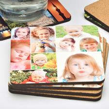 9 Collage Photo Personalized Cork Coaster (One Coaster)