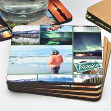 10 Collage Photo Personalized Cork Coaster (One Coaster)
