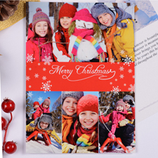 Personalized Christmas Red 4 Collage Invitation Card
