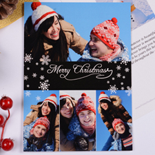 Personalized Christmas Black 4 Collage Invitation Card