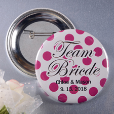 Polka Dots Team Bride Personalized Button Pin, 2.25