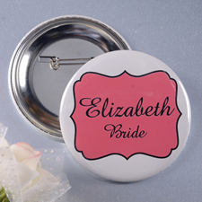 Red Bride Name Personalized Button Pin, 3