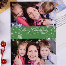 Personalized Christmas Green Two Collage Invitation Card