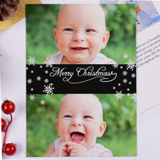 Personalized Christmas Black Two Collage Invitation Card