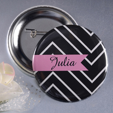 Chevron Name Custom Button Pin, 2.25