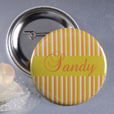 Yellow Orange Stripe Personalized Button Pin, 2.25