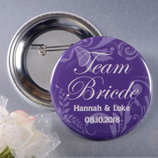 Floral Bride Team Personalized Button Pin, 2.25