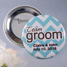 Chevron Team Groom Custom Button Pin, 2.25