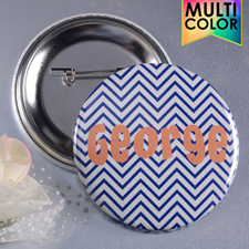 Navy Chevron Custom Button Pin, 2.25