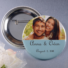 Save The Date With Photo Personalized Button Pin, 2.25