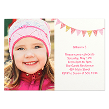 Personalized Banner Day Girl Party Invitation Card