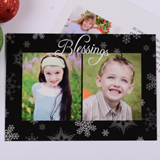 Personalized Blessing 2 Collage, Black Party Invitation Card