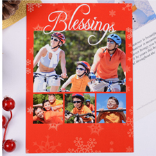 Personalized Blessing 4 Collage, Red Party Invitation Card