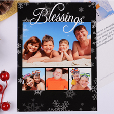 Personalized Blessing 4 Collage, Black Party Invitation Card