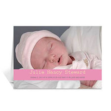 Personalized Baby Pink Photo Baby Cards, 5X7 Folded Causal