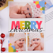Personalized Colorful Christmas Dots 3 Collage Party Invitation Card