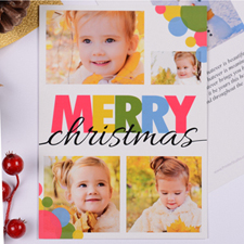 Personalized Colorful Christmas Dots 5 Collage Party Invitation Card