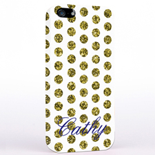 Personalized Gold Glitter Polka Dot iPhone Case