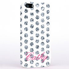 Personalized Silver Glitter Polka Dot iPhone Case
