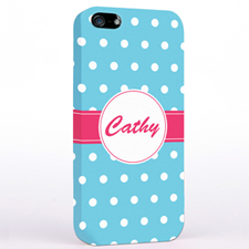 Personalized Aqua Polka Dot iPhone Case