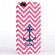 Personalized Navy Anchor Fuchsia Chevron iPhone Case