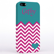 Personalized Aqua Turquoise Chevron iPhone Case
