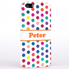 Personalized Orange Colorful Polka Dots iPhone Case