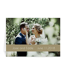 Personalized Gold Photo Wedding Cards, 5X7 Folded Causal