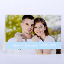 Personalized Baby Blue Photo Wedding Cards, 5X7 Folded Causal
