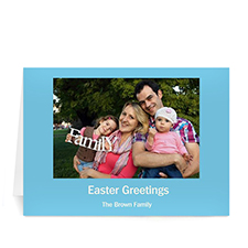 Personalized Easter Blue Photo Greeting Cards, 5X7 Folded
