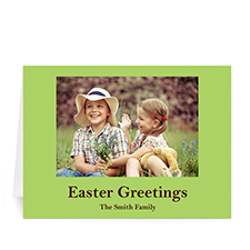 Personalized Easter Green Photo Greeting Cards, 5X7 Folded