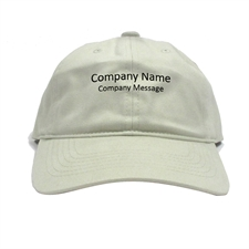 Custom Imprint Baseball Cap Company Name, Light Khaki