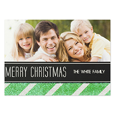 Personalized Green Christmas Glitter Invitation Cards