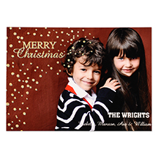 Personalized Merry Gold Christmas Glitter Personalized Photo Card Invitation Cards