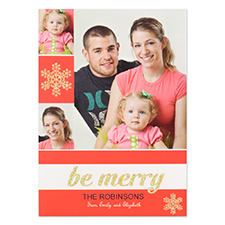 Personalized Be Merry Gold Glitter Invitation Cards