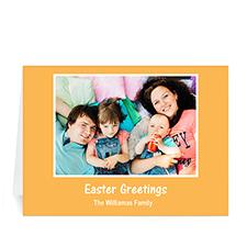 Personalized Easter Orange Photo Greeting Cards, 5X7 Folded