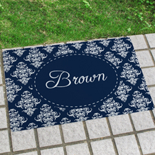 Navy Vintage Personalized Name Door Mat